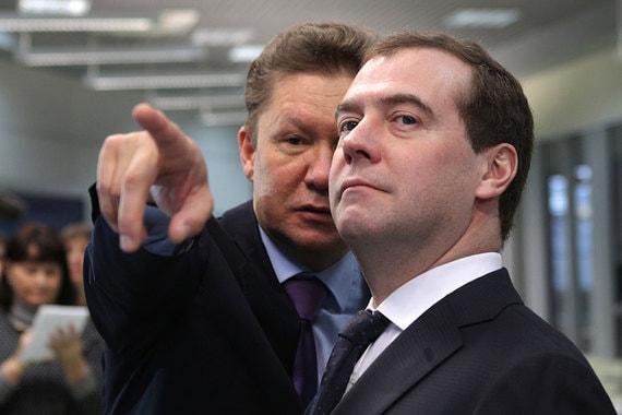 Предправления «Газпрома» Алексей Миллер и премьер-министр Дмитрий Медведев