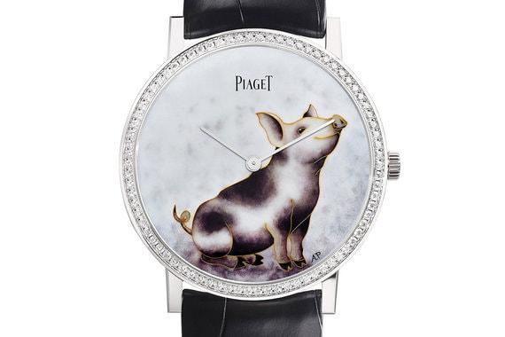 Piaget's Altiplano Year of the PigЧасы с 80 бриллиантами, 38 экземпляров. Рисунок выполнен художницей по эмали Анитой Порше
