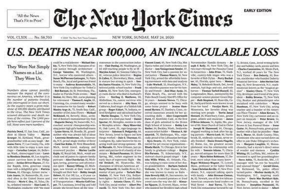 NYT выпустила номер с именами умерших от коронавируса на первой полосе