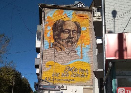 В Твери «ротфронтовцы» закрасили граффити с изображением Солженицына