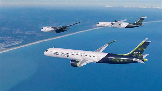 Airbus представил три дизайна самолетов с водородным двигателем